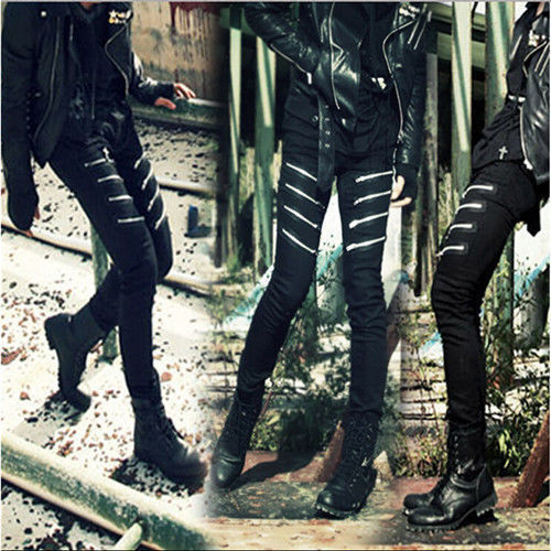zipper slim pencil stretch men skinny denim fashion punk rock  jeans trousers