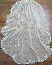 Antique Princess Brussels Lace Bridal Wedding Veil Wax Blossoms Headdress 82""
