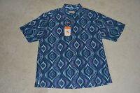 Tommy Bahama Serpentine Tile Short Sleeve Shirt Men's Large Color: Blueberry