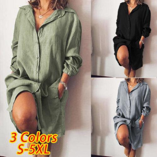ZANZEA Damen Langarm Kragen Bluse Shirts Baumwolle Linen Freizeit Lange Hemd Tee