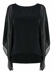 WALLIS-Black-Floaty-overlay-beaded-Top-Women-Evening-Embellished-Blouse
