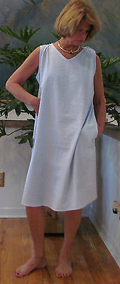 """DUSTER//BEACH COVER UP//CASUAL DRESS /""""MADE IN USA/""""SEERSUCKER SLEEVELESS"""
