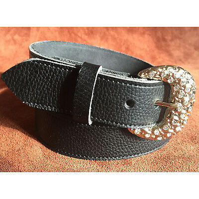Black Belt 1-1/2 Inch 38mm Quality Nugget Real Leather Hand Made Belts xxl Dr1