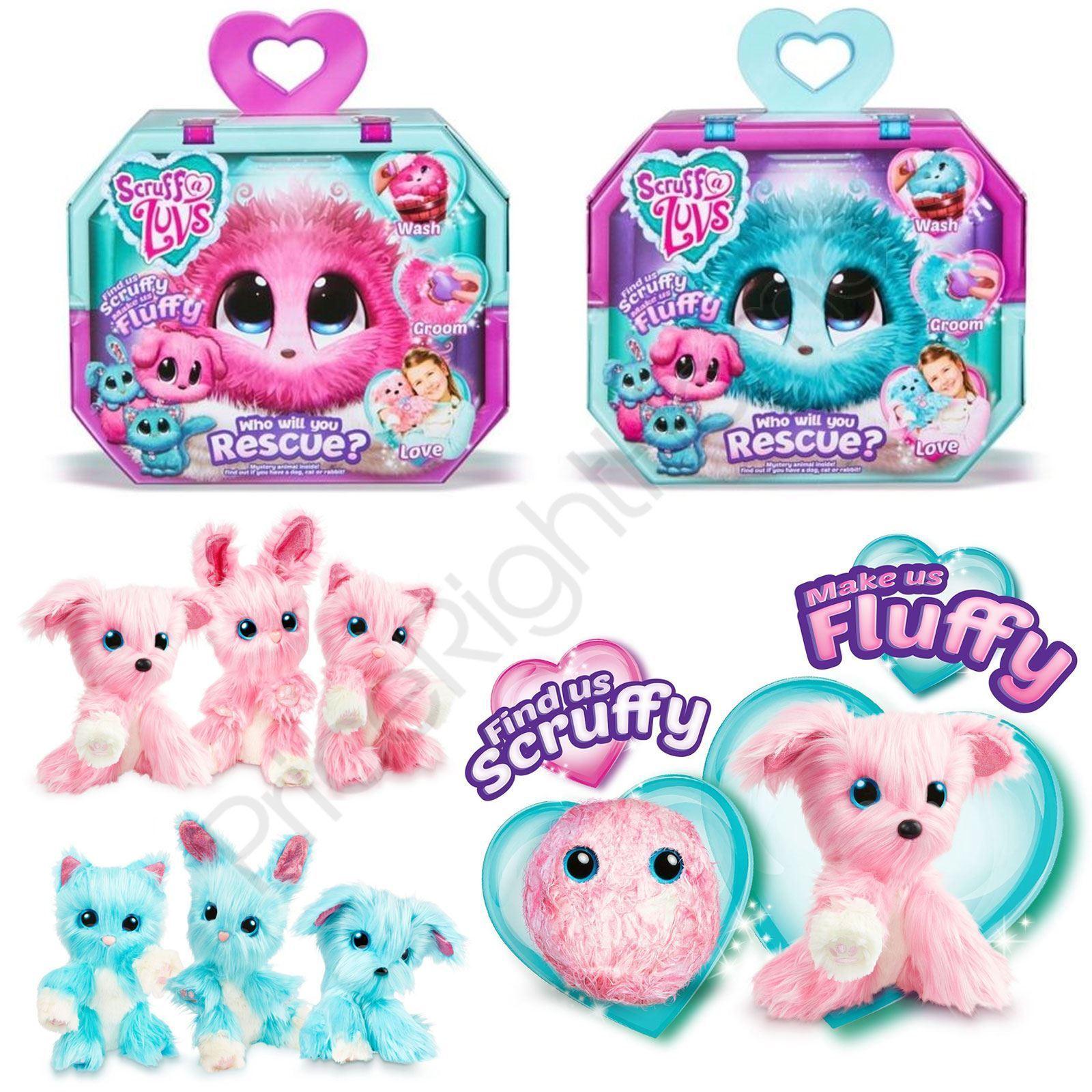 SCRUFF-A-LUVS MYSTERY RESCUE FLUFFY FURRY ANIMAL PET KIDS TOY - PINK & AQUA blueE
