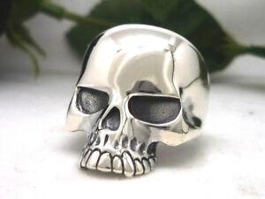 Schlichter Totenkopf 925 Sterling Silber Ring Klassisch Totenschädel skull
