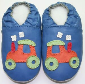 minishoezoo soft sole leather baby shoes tractor blue 6-12m US 3-4 crawling