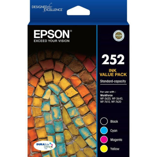 GENUINE Epson 252 4 color Value Pack Ink WF-3620 WF-3640 WF-7610 WF-7620 T252692
