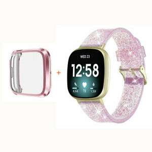 For Fitbit Versa 3/Sense Bling Clear Silicone Watch Band Wrist Strap with Case