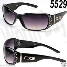 New DG Eyewear Womens Rhinestones Designer Wrap Sunglasses Shades Fashion Black