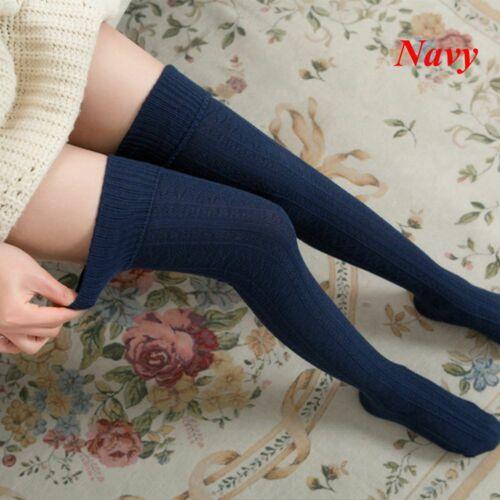 Winter Cotton Thigh Tights Knee High Long Socks Knit Stockings Pantyhose