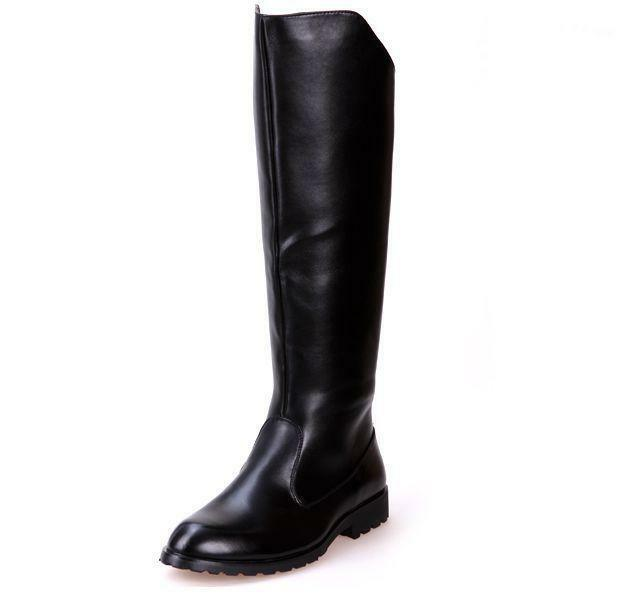 Fashion Riding Long Boots Mens Military PU Leather Knee High Equestrian Boots SZ