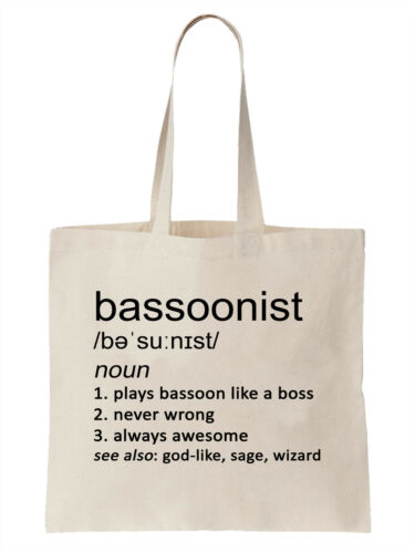 Bassoonist Definition Funny Tote Bag Shopper Bassoon Band Orchestra Music Cool