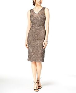 2293a8c8cb Details about  420 ADRIANNA PAPELL WOMEN S GRAY BEADED SEQUINED V-NECK  SHEATH DRESS SIZE 6