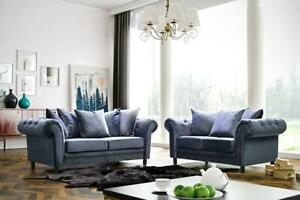 Details About Woodland Sofa Set 3+2+1 Grey Plush Velvet Sofas Suite Couch  Chesterfield Arms