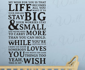 My Wish For You Rascal Flatts Love Wall Decal Sticker Vinyl Quote