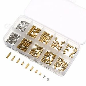 300pcs-m2-m3-Brass-Hex-Column-Standoff-Spacer-Screw-Nut-Assortment-Kit-avec-box-HL