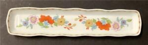 Vintage Porcelain Oblong Dresser Dish Floral Watch Bracelet Rings Jewelry Holder
