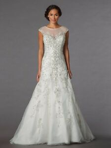 Sophia moncelli for kleinfeld wedding cap sleeve beaded for Kleinfeld wedding dresses with sleeves