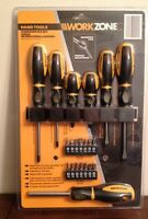 Workzone Screwdriver Set Chrome With Ergonomic Grip 21 Pieces Aldi Work Zone