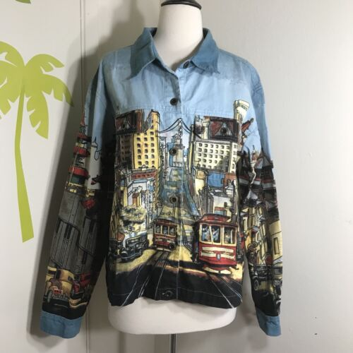 Artscapea Men Novelty Funky Denim Jacket Sz L Larg