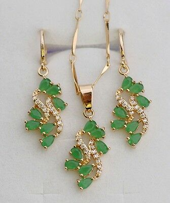 24cts NATURAL GREEN EMERALD& White CZ ROUND NECKLACE & EARRINGS Gold SET