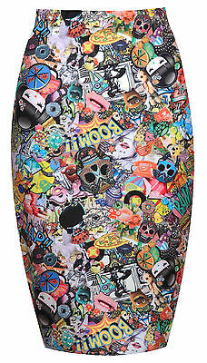 Womens Ladies Funky Crazy Print High Waisted Bodycon Knee Length Skirt Size 8-14
