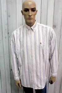 RALPH-LAUREN-Taglia-2XL-Camicia-Uomo-Multicolor-Cotone-Shirt-Casual-Manica-Lunga