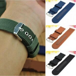 Canvas-Stainless-Steel-Pin-Buckle-Wrist-Watch-Band-Strap-Watchbands-Military