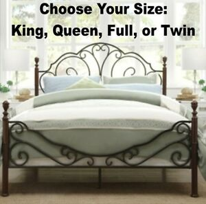 King Queen Full Twin Bronze Iron Bed Frames Bedroom