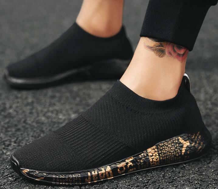 Men Breathable Elastic Fabric shoes Casual Sneakers Sports Loafers Round Toe