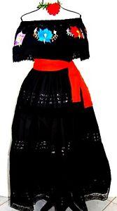 5 de Mayo Black Mexican Dance Dress Red Floral Adelita folklorico Plus Sz NWT