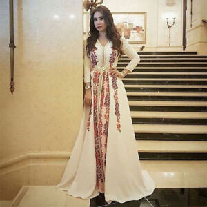 78e04c3f18e Details about Long Sleeve Dubai Moroccan Prom Formal Dress Muslim Applique  Evening Party Gowns
