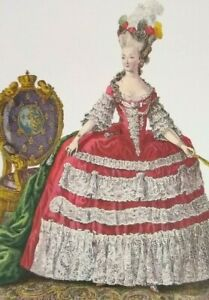 Art-Print-Rococo-Court-Dress-Panniers-Fashion-Plate-d-039-Artois-Marie-Antoinette