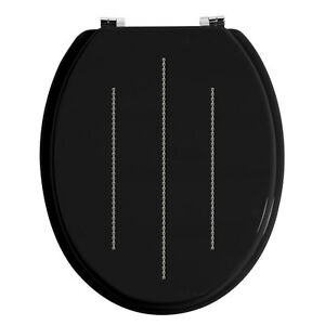 Stupendous Details About Brand New Diamante Wood Toilet Seat Black Crystal Bling Caraccident5 Cool Chair Designs And Ideas Caraccident5Info