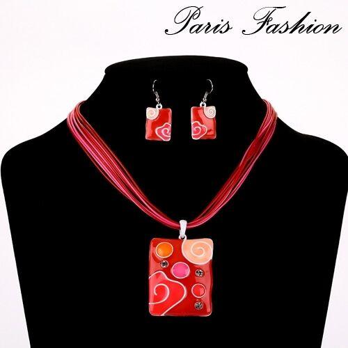 Set 2 pzas cadena aretes schmuckset Collier collar remolque esmaltes Paris
