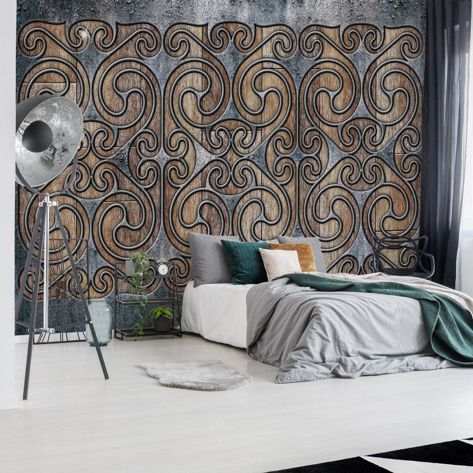 Design Tapete Fototapete für Wohnzimmer braunes nordisches keltisches Muster