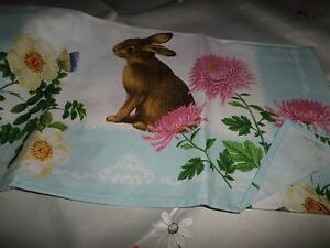 """Williams Sonoma Easter /""""Floral Meadow/"""" Bunny Cream Cotton Towel New"""