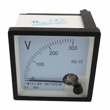 One Pcs Sq 72 Class 15 Ac 0 300v Analog Square Voltmeter Panel Volt Meter