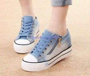 New-Womens-Round-Toe-Lace-Up-Sneakers-Platform-Wedge-Heels-Denim-Canvas-Shoes-Sz