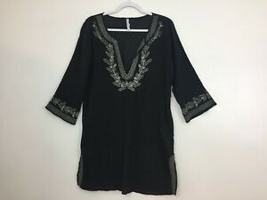 Old-Navy-Women-039-s-Tunic-Size-M-3-4-Sleeve-Top-Blouse-Shirt-Black-Boho