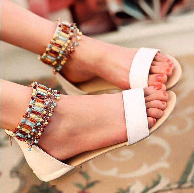 Eleganti Sandali Color bianco con cinturino gioiello tacco basso cod 8055