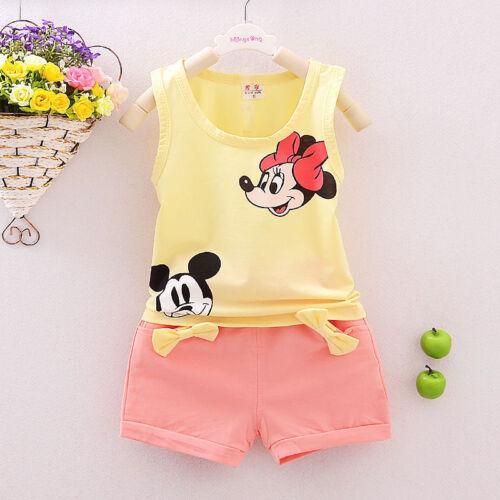 NEW 2Pcs Baby Girls Minnie Mouse T-shirt Tops+Shorts Kids Cartoon Clothes Sets