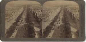 Panorama De Paris Champs-Elysées Foto Stereo Stereoview Vintage