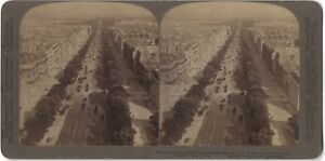 Panorama De Paris Champs-Elysées Foto Stereo Stereoview Vintage