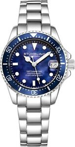 Stuhrling-3950L-Women-039-s-Underwater-Svelte-32mm-MOP-Stainless-Link-Bracelet-Watch
