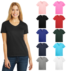 Hanes-Ladies-Tagless-100-Cotton-V-Neck-Smooth-Comfort-Feel-T-Shirt-5780