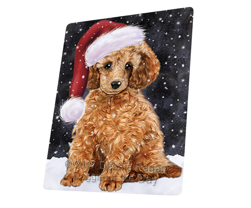 Let it Snow Christmas Holiday Poodle Dog Woven Throw Sherpa Blanket T16