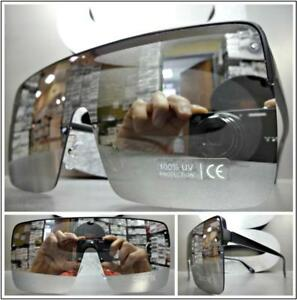 Oversize Retro Shield Style Party Rave SUNGLASSES Black Frame Chrome Mirror Lens