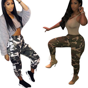 5ce36aad50ed6 Image is loading Womens-Camouflage-Pants-Camo-Casual-Cargo-Joggers-Trousers-