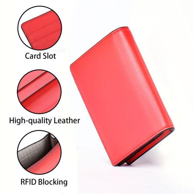 RFID Blocking Women's Wallet Credit Cards Holder Genuine Leather Orange Red G8C